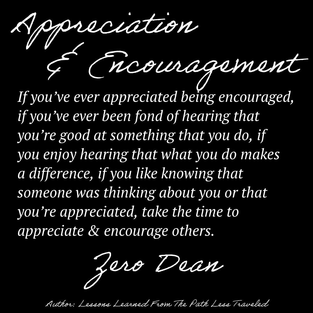 Appreciation and encouragement