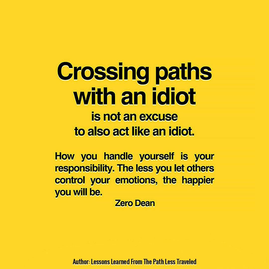 Crossing paths with an idiot is not an excuse to also act an idiot.