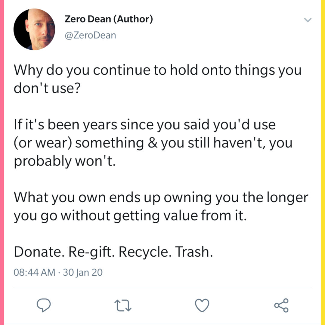 Donate. Re-gift. Recycle. Trash.