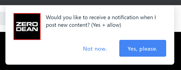 New site notifications settings