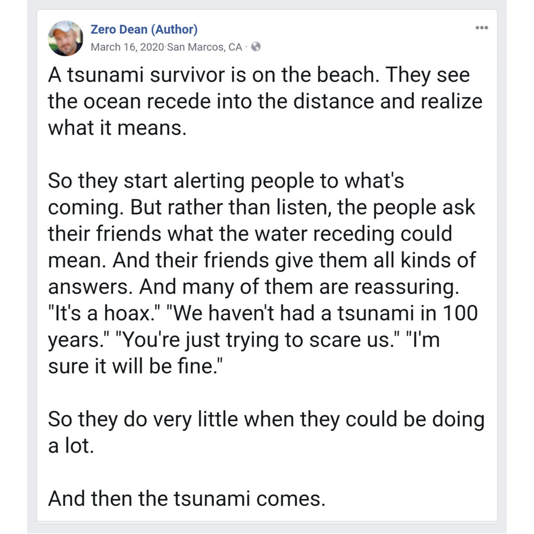 The ocean has receded