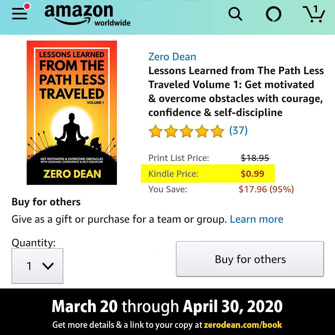 .99 cent Kindle sale now through April 30, 2020